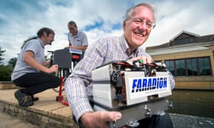 Chris Wright, the chairman of Faradion, with the sodium-ion electric car battery.