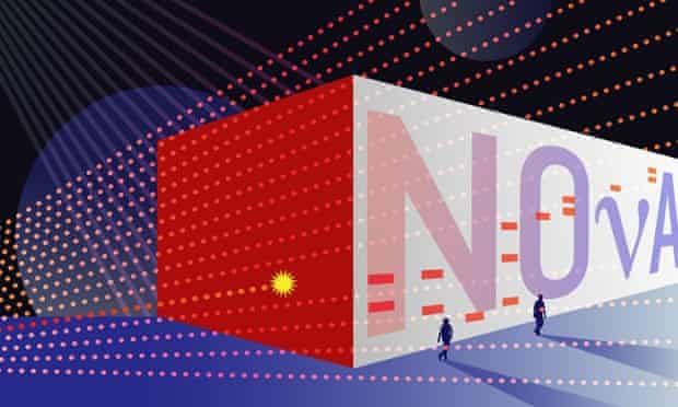 A cartoon of the Noνa far detector. Bathed in neutrinos from Fermilab, it catches a few of them