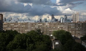 City of London skyline as seen from the Heygate Estate, Elephant & Castle.