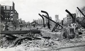 Air raid damage in London, looking towards Cripplegate.