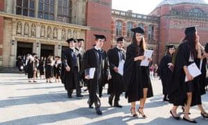 Graduates leaving the Great Hall at Birmingham University.