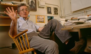 Noam Chomsky in his office at Massachusetts Institute of Technology, in 1988.