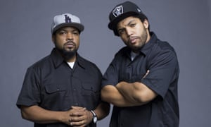 A bit like father, a bit like son ... Ice Cube and O'Shea Jackson Jr, his off-screen son and the actor who plays him in Straight Outta Compton.