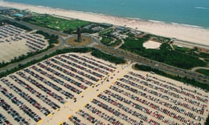 The 10-mile Jones Beach, created entirely out of dredged sand, has parking for more than 14,000 cars.