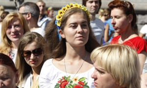Ukrainians celebrate the 24th anniversary of independence from the Soviet Union in 1991.