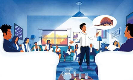 Illustration of people in a salon talking by Tom Clohosy Cole