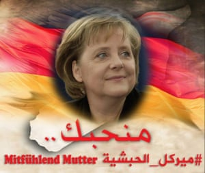 A social media picture praising Angela Merkel.