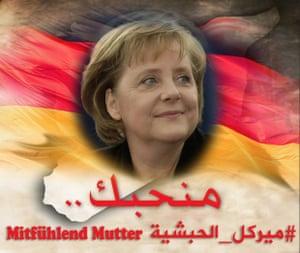 A social media picture praising Angela Merkel.