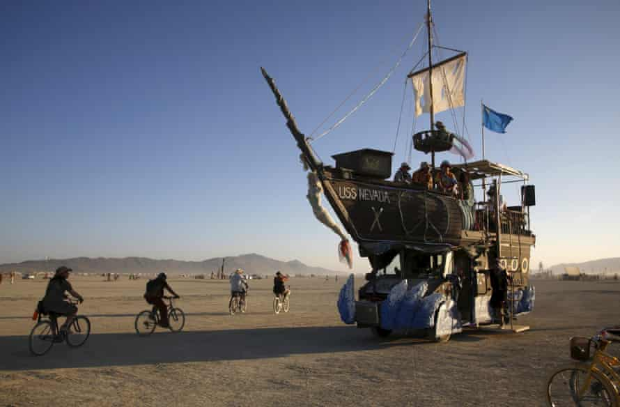 The USS Nevada, a Mutant Vehicle, carries participants on the Playa.