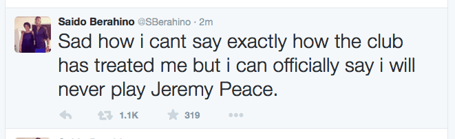 Saido Berahino tweet