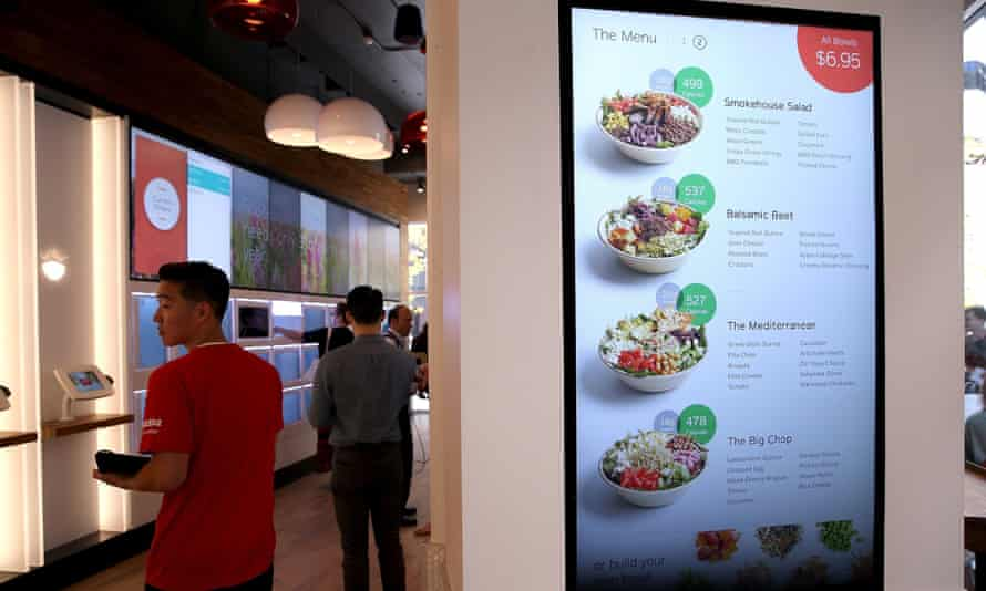 A menu is displayed at Eatsa, a fully automated fast food restaurant.