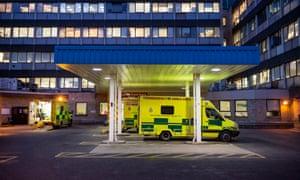 Ambulance entrance to Accident & EmergencyAddenbrooke's Hospital in Cambridge.