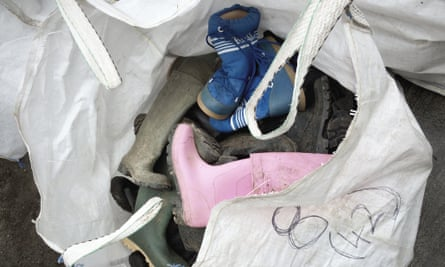 Some of the hundreds of wellies donated by Glastonbury festival.