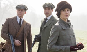 Shooting party… Michelle Dockery as Lady Mary Crawley with Allen Leech as Tom Branson and Tom Cullen as Gillingham.