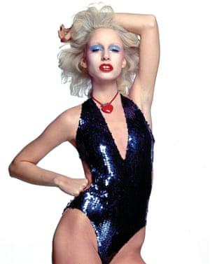 Warhol Superstar Donna Jordan works the no-eyebrows look way back in 1977. Lady Gaga is in her debt.
