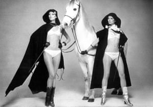 Horses were the thing to have in seventies New York - as Bianca Jagger famously demonstrated. In this 1975 image, Von Wangenheim adds two models wearing their underwear, capes and riding whips.