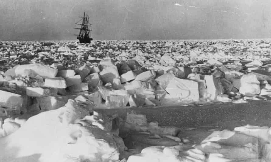 Irish explorer Sir Ernest Shackleton's ship SS Nimrod in the Antarctic pack ice.