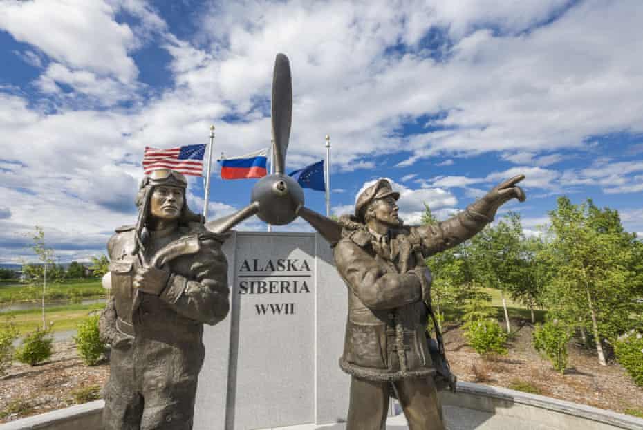 An Alaska-Siberia lend-lease memorial at Griffin Park, Fairbanks, Alaska.