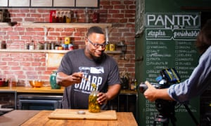 Chef Marcus Meacham cooks on camera for Tastermade's Snapchat channel.