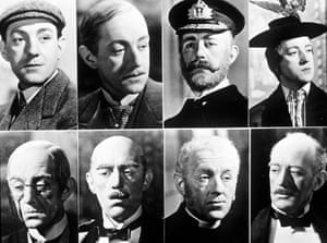 Alec Guinness plays a multitude of characters in Kind Hearts and Coronets.