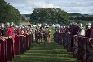 The mock battle with Caledonian Barbarians takes place at Birdoswald Roman Fort, built astride Hadrian's Wall, on the site of one of the Wall's stone turrets, around AD 122