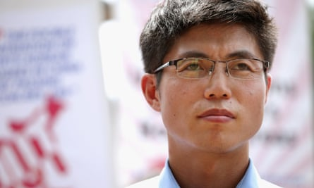 North Korea refugee and human rights activist Shin Dong-hyuk at a rally outside the White House in 2012.