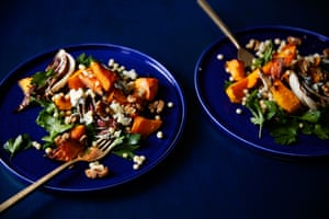 The radicchio and squash salad is finished with a scattering of crumbled cheese and walnuts, plus a drizzle of honey.