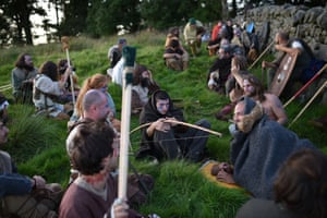 Caledonian Barbarians wait in ambush before a battle with soldiers