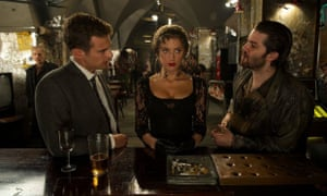 Heard in London ... Amber Heard with Theo James and Jim Sturgess in London Fields.