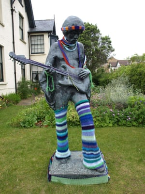 Jimi Hendrix after being 'yarn bombed' at Dimbola Lodge, Isle of Wight