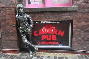 John Lennon outside the Cavern Club, Liverpool, England