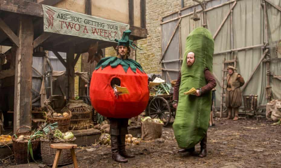 Mathew Baynton of the 'Galaxy Minstrel' eyes as a tomato-clad Bill Shakespeare.