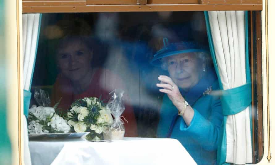 Queen Elizabeth, with Scotland's First Minister Nicola Sturgeon on a train drawn by a steam locomotive in Edinburgh this week, officially opened the old Waverley route.
