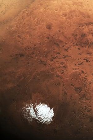 Mars' bright south polar cap.