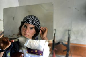 The young Yazidi woman, who has joined a brigade fighting against the Islamic State in Sinjar, Iraq.