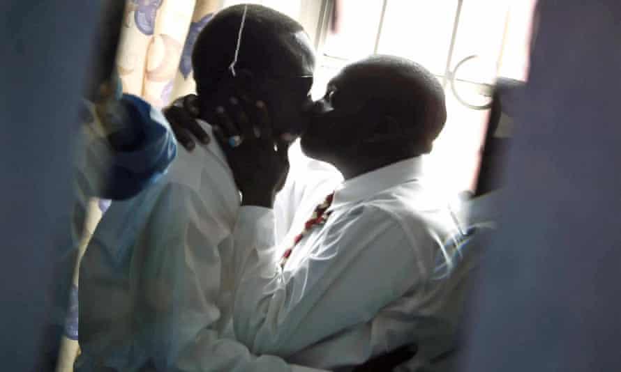 Men kissing in Nairobi.