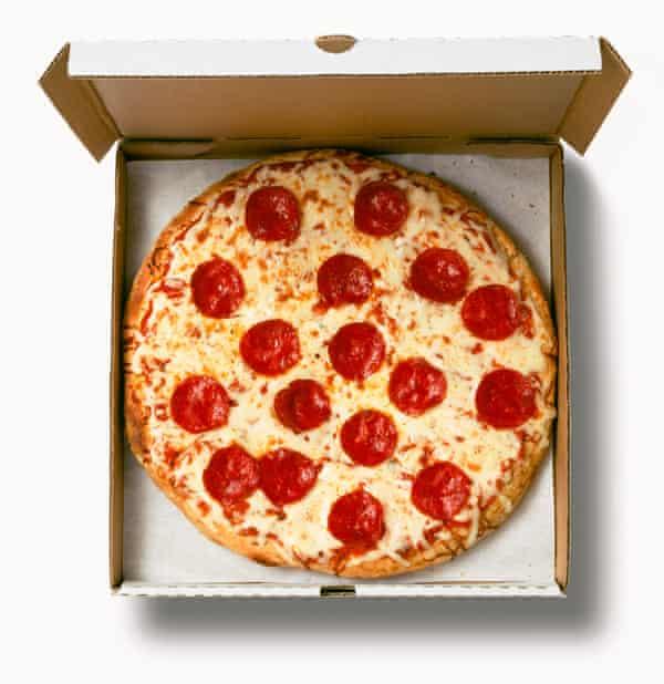 Pepperoni pizza takeaway.