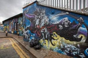A Terry Pratchett mural in east London.