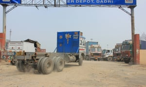 Trucks in the container depot at Dadri, starting point for the planned high-speed railway line to Mumbai.