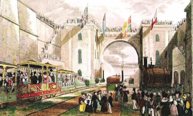 A painting of the opening of the Liverpool to Manchester line in 1830.
