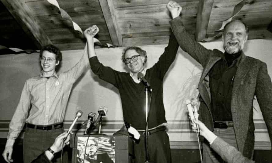 Bernie Sanders (centre) after being elected mayor of Burlington, Vermont in 1981.