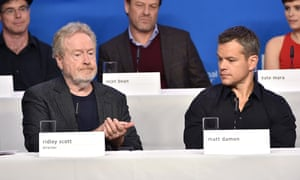 'It's a really optimistic and hopeful movie' ... Matt Damon alongside director Ridley Scott and other stars from his new film The Martian at the Toronto film festival.