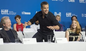Matt Damon goofing around during the press conference for The Martian.