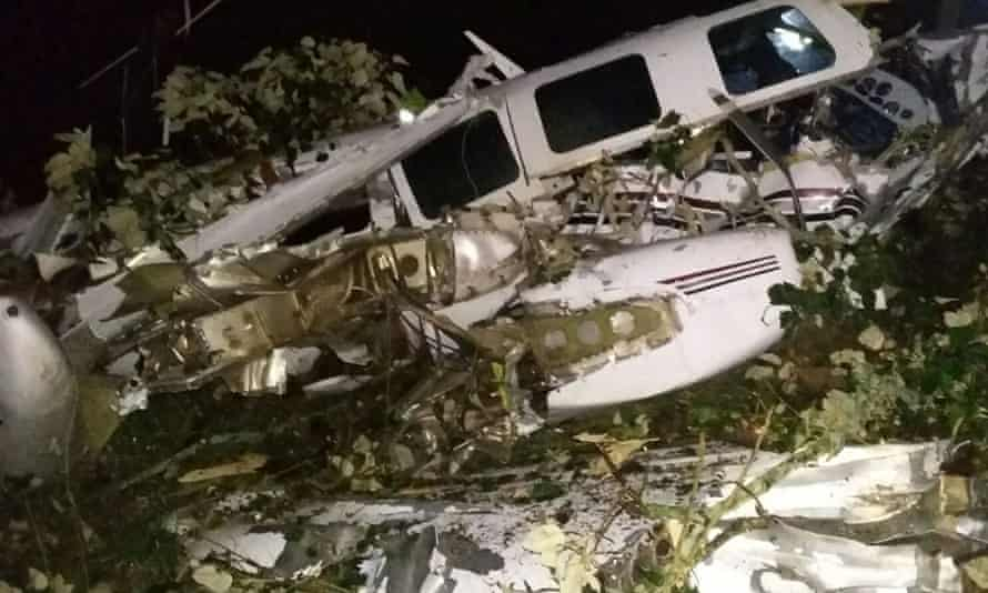 A handout picture from Colombian authorites of the crashed plane.
