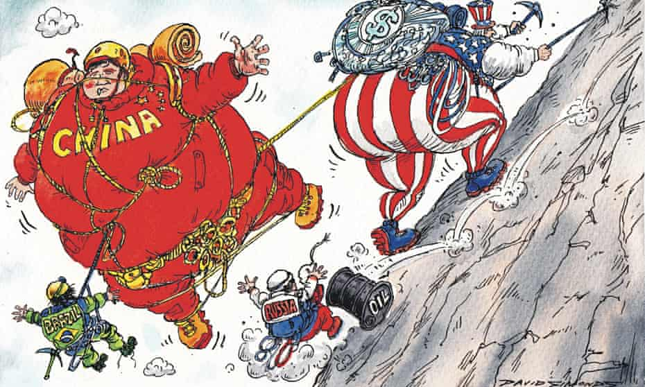 Cartoon of Uncle Sam climbing a mountain while Brazil, Russia and China fall