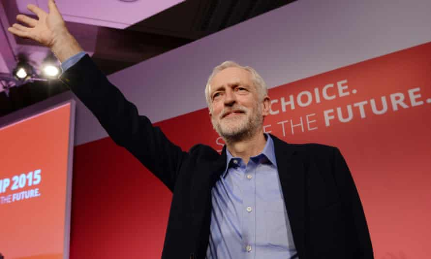 Jeremy Corbyn takes to the stage after he was announced as the Labour Party's new leader at a special conference at the QEII Centre in London.