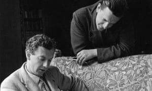 British composer Benjamin Britten with his life partner, tenor Peter Pears photographed during rehearsals for Britten's Rape of Lucretia at Glyndebourne, 1946,