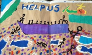 Child's drawing at the refugee centre in Pozzallo, Sicily.