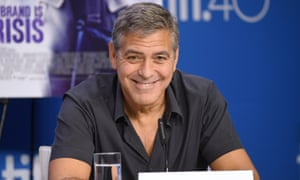 'Anybody who says as intolerant words as those should be laughed at and that's pretty much what history will do' ... George Clooney at the press conference for Our Brand is Crisis at the Toronto film festival.