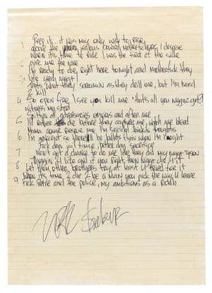 Undated Sotheby's handout photo of lyrics written in jail by the late Tupac Shakur, which are due to go up for auction